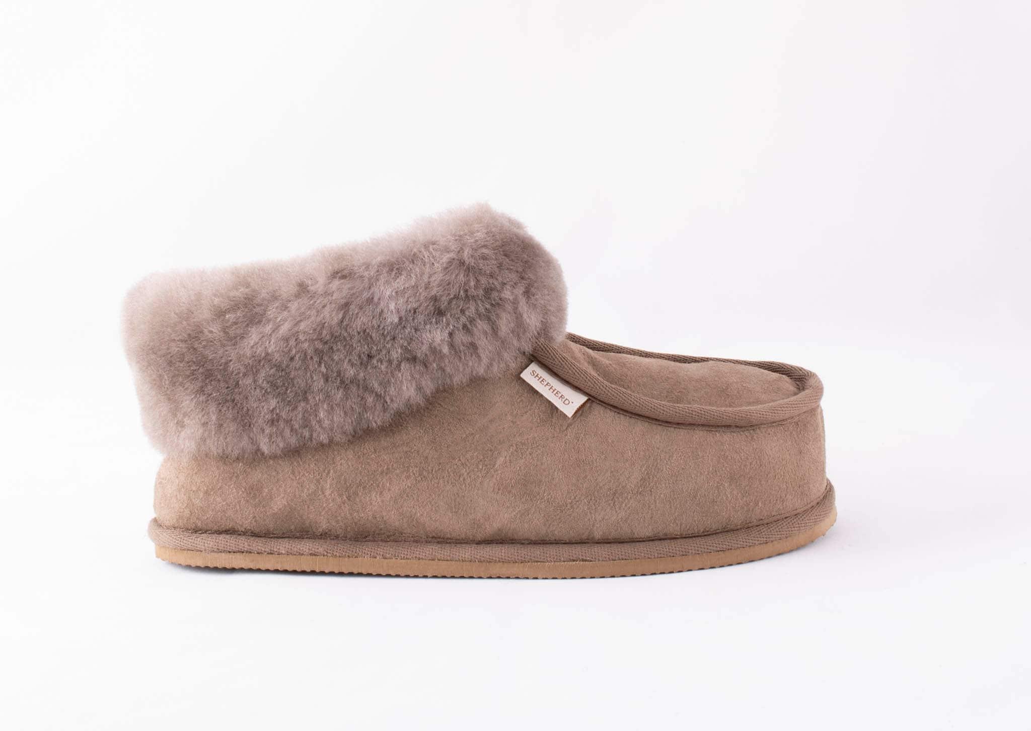 Shepherd Lena Ladies Luxury Sheepskin Bootie Style Slipper In Stone