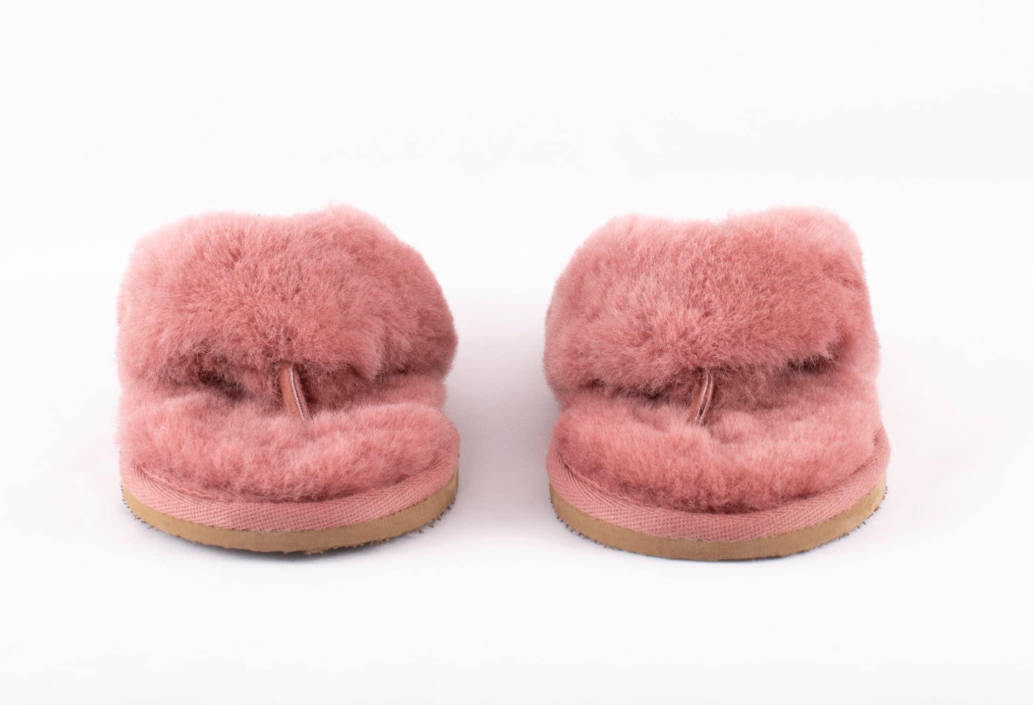 Pernilla fårskinnstofflor Rost rosa
