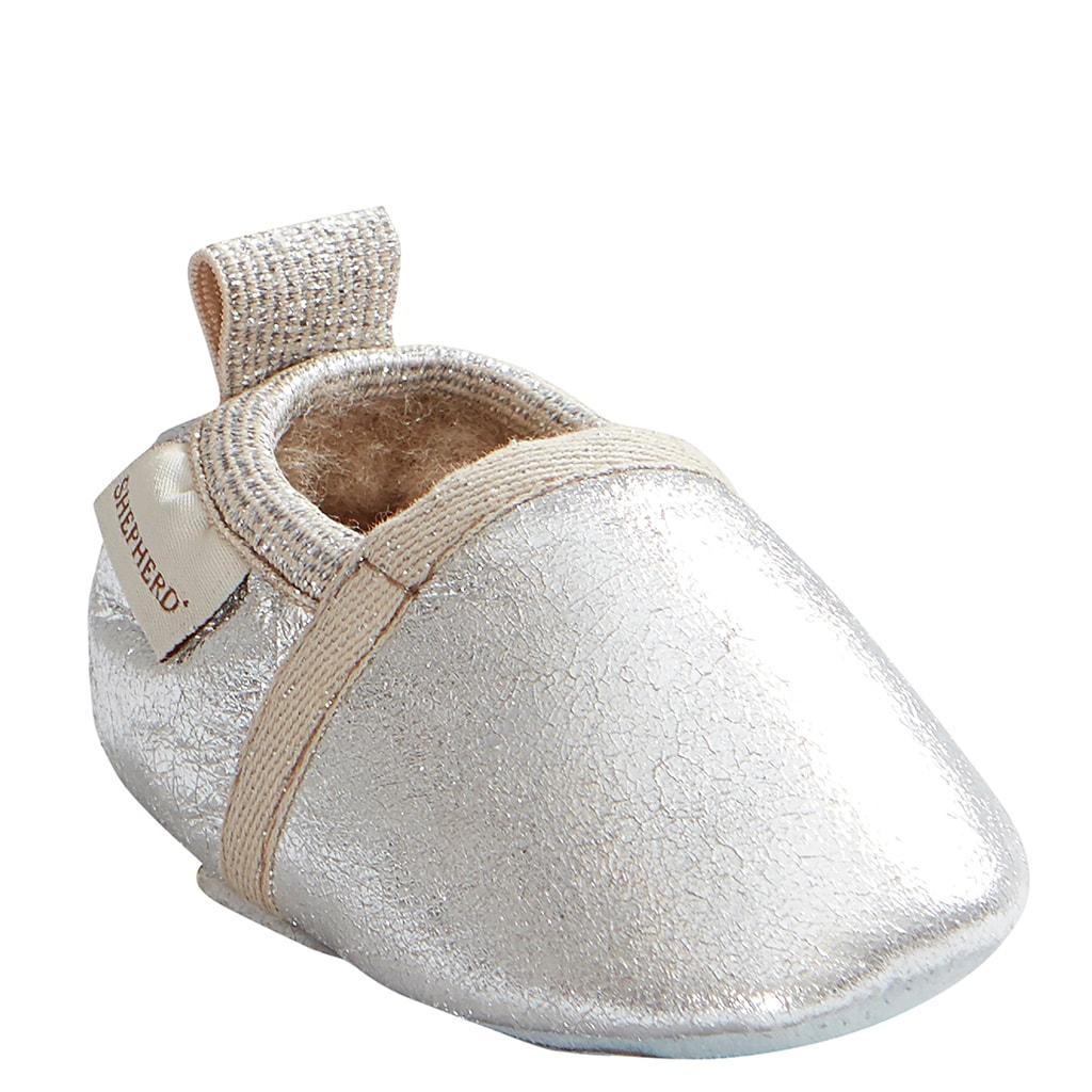Ale babytofflor i fårskinn Silver