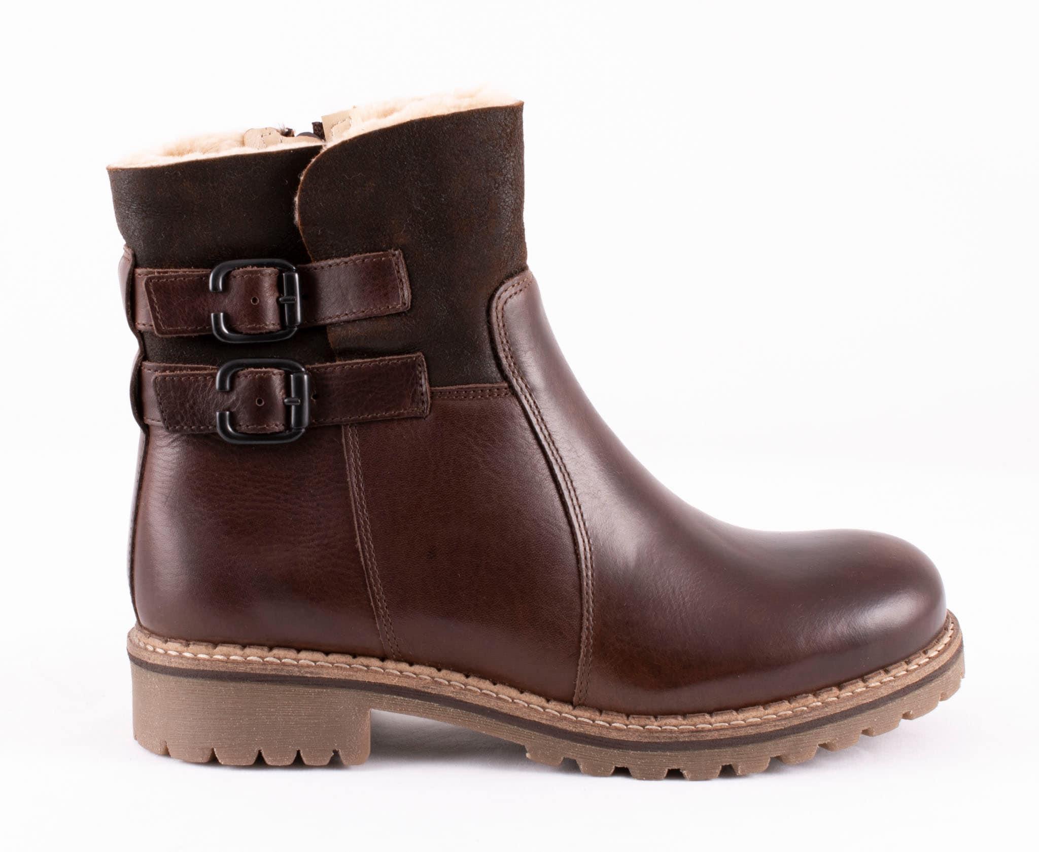 Smilla, ankel boots in leather Dark brown