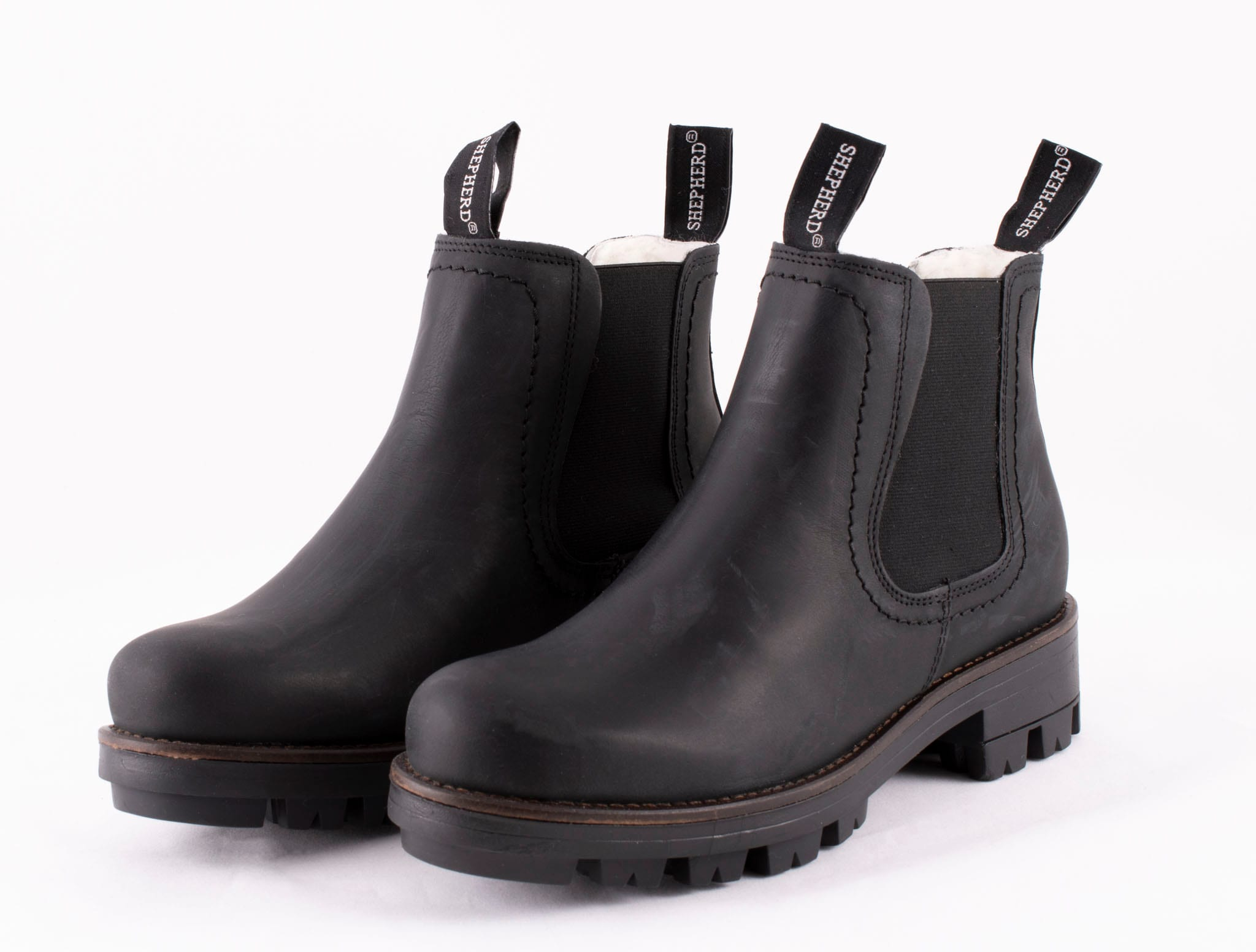 Cissi, ankel boots in leather Black