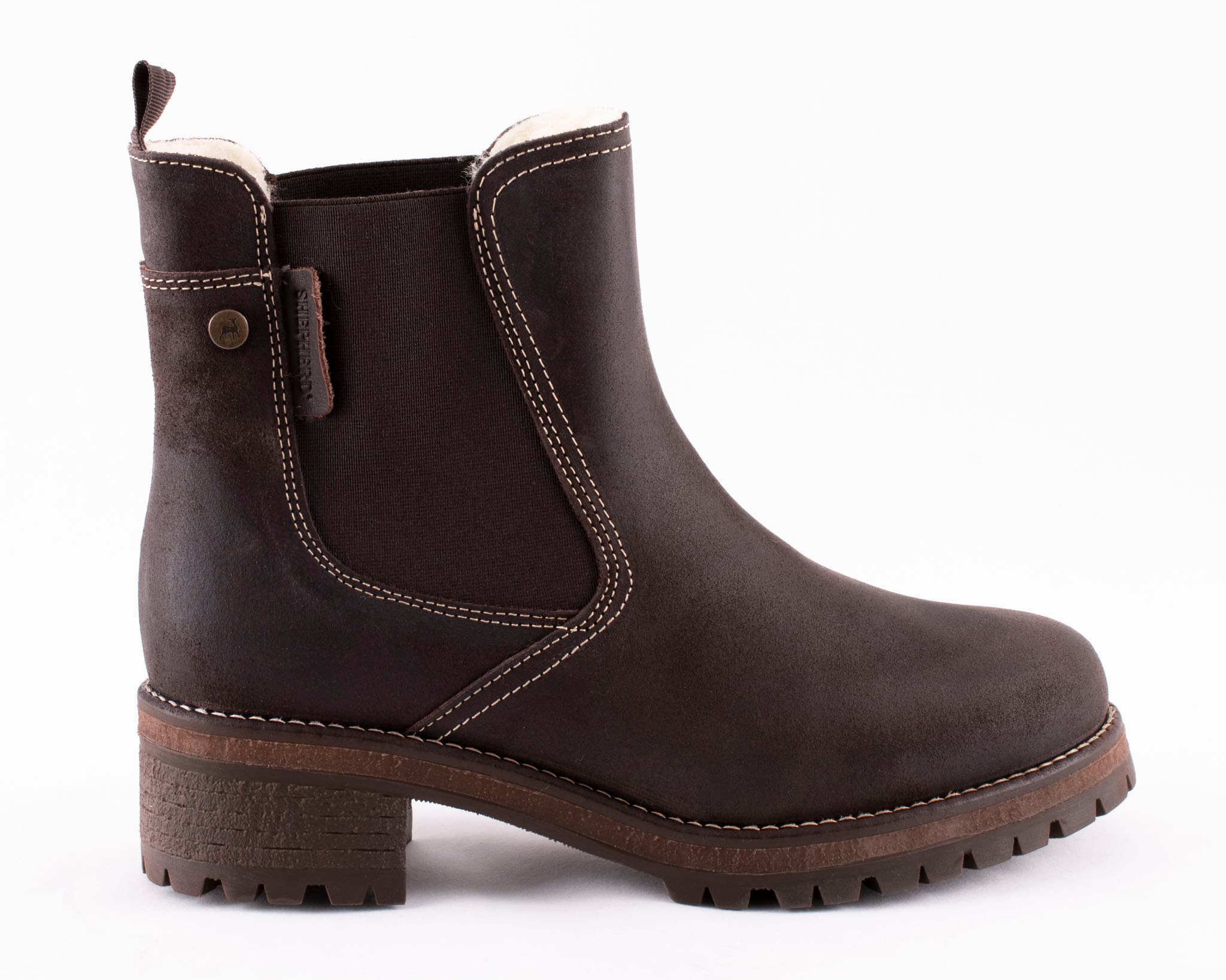 Lotta, Chelsea boots in suede Dark brown