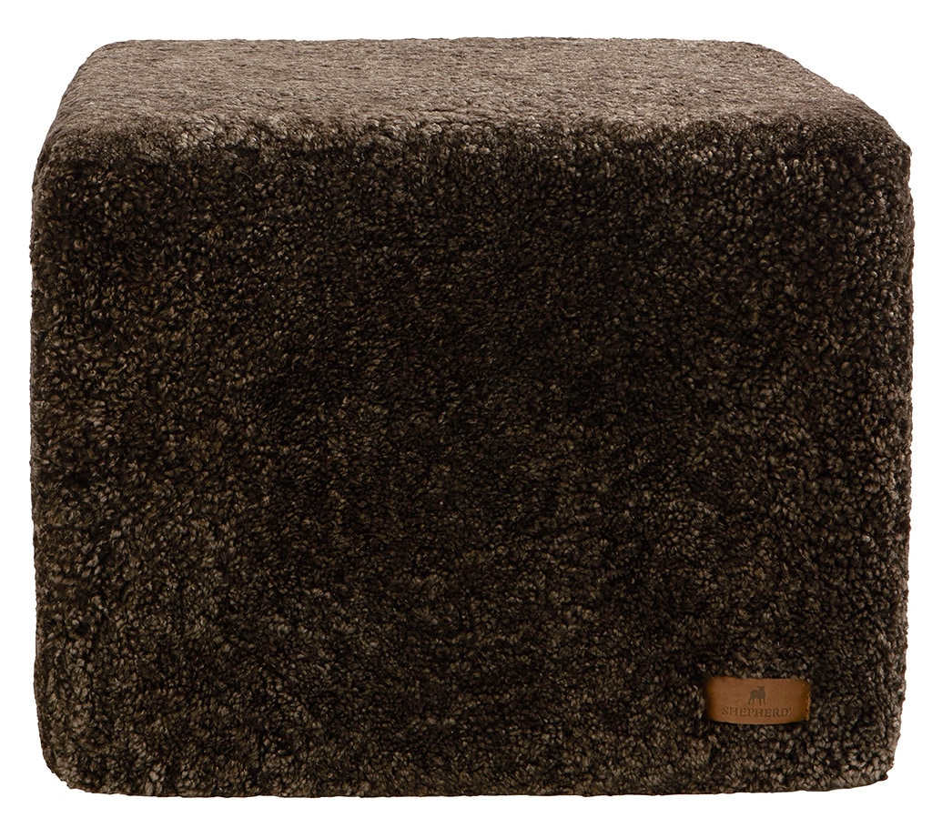 Emma rectangular sheepskin pouffe 50x40cm